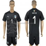 Maillot De Foot Italie 2018 Équipe Nationale Gardien De But Buffon 1 Manches Courtes Noir Football M..