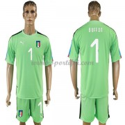Maillot De Foot Italie 2018 Équipe Nationale Gardien De But Buffon 1 Manches Courtes Vert Football M..