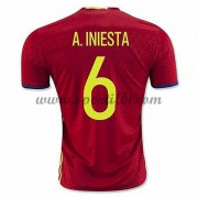 Maillot De Foot Espagne Coupe d'europe 2016 A. Iniesta 6 Maillot Domicile..